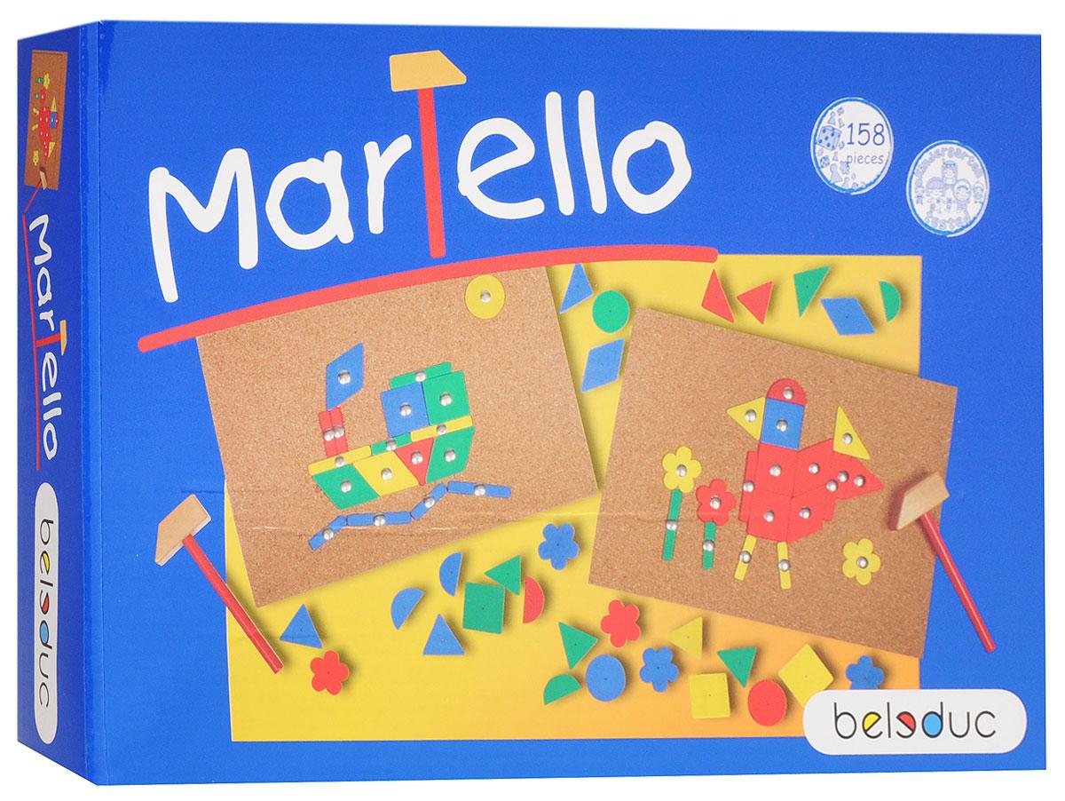 Beleduc Обучающая игра Мартелло22383Обучающая игра Beleduc Мартелло - это отличное занятие для детей в возрасте от 4 лет. В данной игре ваш малыш сможет самостоятельно сложить разноцветные фигуры в яркие цветные картинки. Используя деревянный молоточек и гвоздики, ваш ребенок сможет закрепить все детали на пробковой доске. Развивающая игра от Beleduc Мартелло вызовет восторг у вашего ребенка, но и поможет ему развиваться и тренировать мелкую моторику, зрительно-тактильное восприятие, воображение.