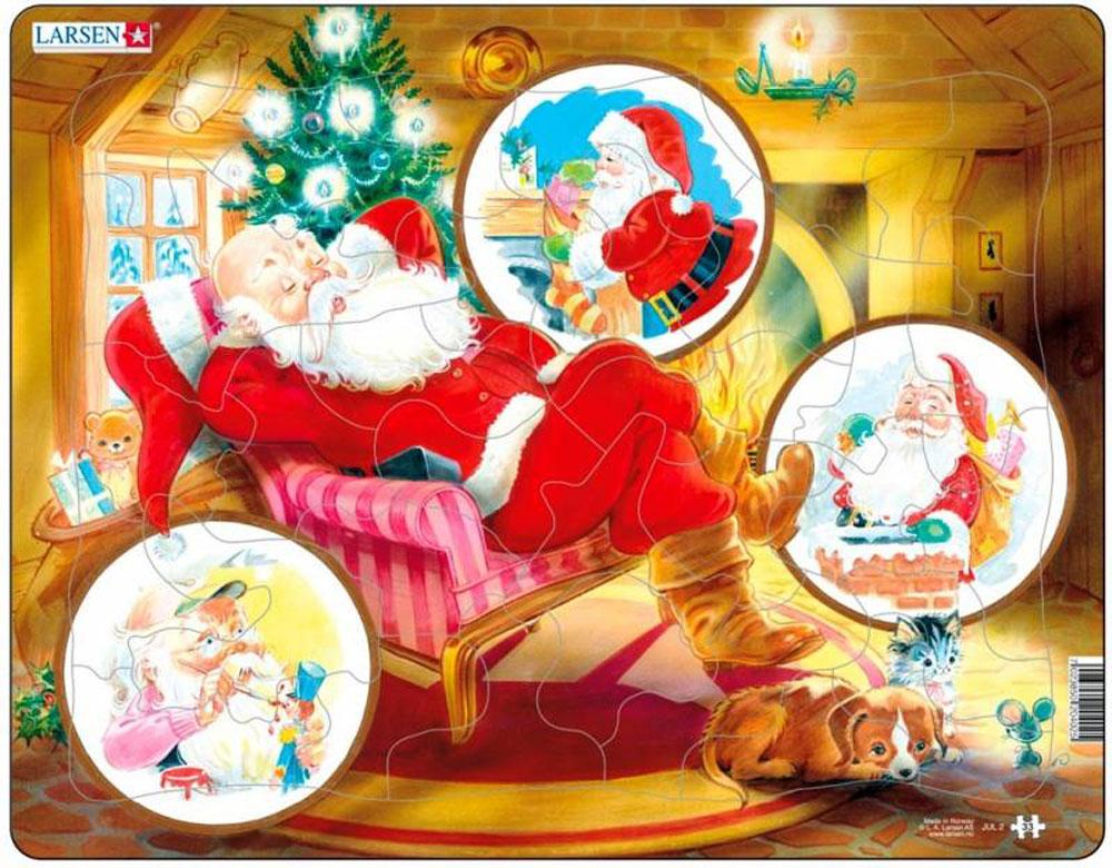 Larsen Пазл Санта Клаус JUL2JUL2Собрав пазл Larsen Санта в санях, вы получите картинку с изображением отдыхающего Санта Клауса. Элементы пазла, выполненные из высококачественного трехслойного картона не деформируются и легко берутся в руки. Все пазлы снабжены специальной подложкой, благодаря чему их удобно собирать. Прекрасный подарок к Новому Году и Рождеству. Собирание пазла поможет развить память, моторику рук, логику и усидчивость.
