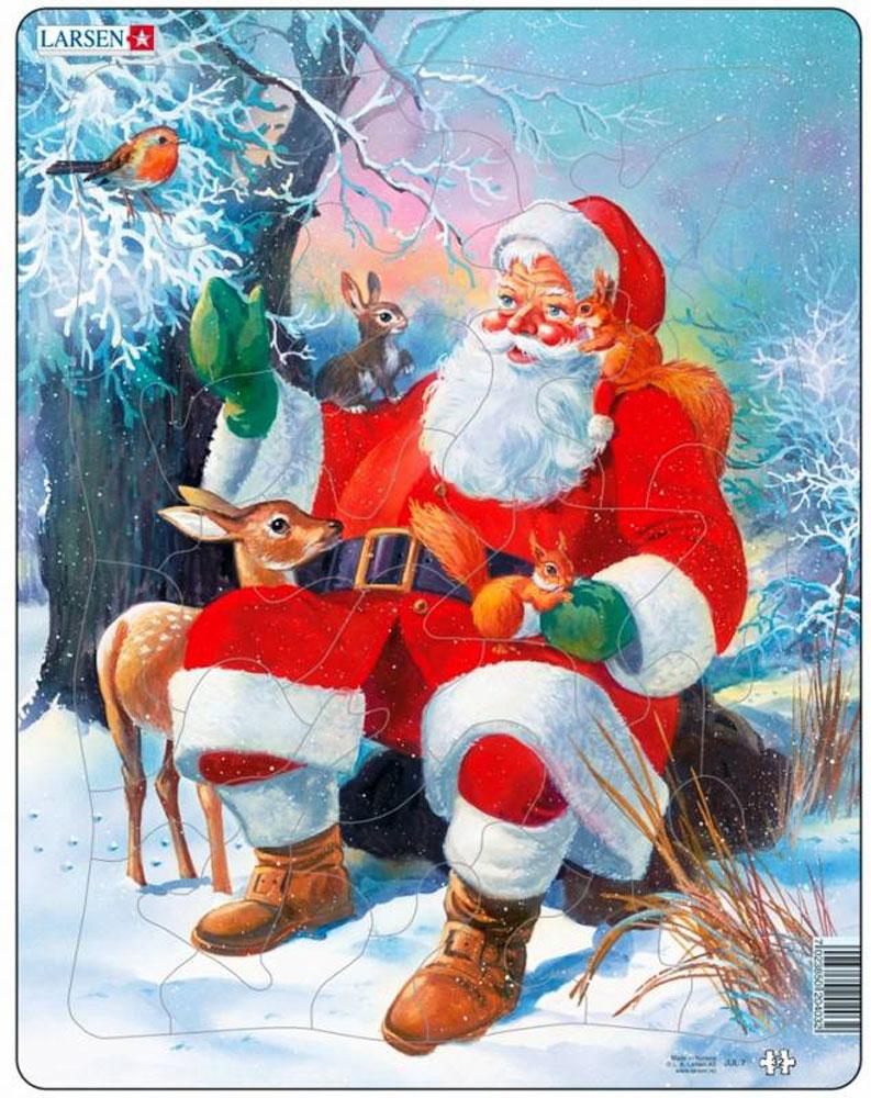 Larsen Пазл Санта с животными JUL7JUL7Собрав пазл Larsen Санта с животными, вы получите картинку с изображением Санта Клауса в окружении обитателей леса. Элементы пазла, выполненные из высококачественного трехслойного картона не деформируются и легко берутся в руки. Все пазлы снабжены специальной подложкой, благодаря чему их удобно собирать. Прекрасный подарок к Новому Году и Рождеству.