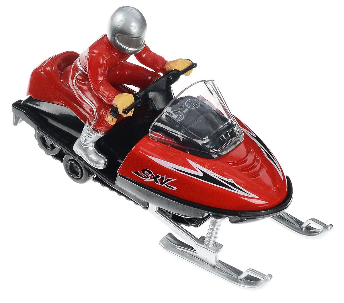 Технопарк СнегоходFY363Снегоход с инерционным механизмом ТехноПарк - миниатюрная копия настоящей техники. Он выполнен из качественного и безопасного металла. На сидении снегохода находится фигурка человека, одетого в красный костюм и серебристый шлем. Игрушка очень понравится любителям зимних развлечений. Механизм, встроенный в игрушечный снегоход, позволяет ему ездить самостоятельно. Для активизации механизма необходимо просто откатить его назад, а потом отпустить. Ваш ребенок будет часами играть с этой машинкой, придумывая различные истории. Порадуйте его таким замечательным подарком!