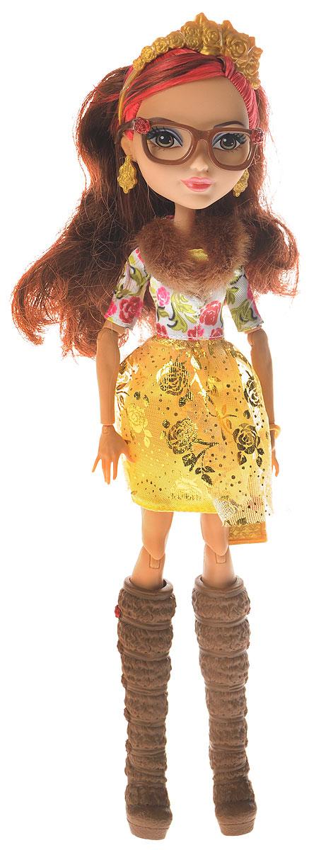 Ever After High Кукла Розабелла БьютиDRM05_CDH59Кукла Ever After High Розабелла Бьюти - обворожительная отступница в Эвер Афтер Хай, дочь Красавицы из сказки Красавица и Чудовище. Кукла - настоящая красавица с карими глазами и каштановыми волосами, на верхней части которых присутствуют розовые пряди. Челка убрана, а верхняя часть волос собрана в прозрачную резинку. На голове имеется тиара золотого цвета. Макияж смоки-айс, а на губах помада розоватого оттенка. У Розабеллы имеются чудесные коричневые очки. В ушах золотые серьги с розами. Платье куклы буквально усыпано розами. Верхняя часть платья белого цвета с орнаментом розочек. Сверху присутствует искусственный мех коричневого цвета. Нижняя часть платья полностью золотая. На ногах у куклы роскошные высокие сапоги. Сами сапоги коричневого цвета с высоким каблуком и розами по бокам. К куколке в комплекте прилагаются клатч и очки.