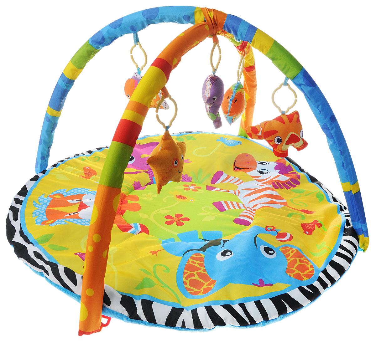 Умка Развивающий коврик B1387959-RB1387959-RЯркий развивающий коврик Умка обязательно придется по душе каждому малышу. Коврик предназначен для детей от 6 месяцев и выполнен из качественных материалов. Развивающий коврик поможет ребенку укрепить вестибулярный аппарат, развить мелкую моторику, слух, осязание и визуальное восприятие. Сочетание насыщенных контрастных цветов и множество затейливых узоров прекрасно тренируют зрение ребенка. Складывающиеся две мягкие дуги позволяют закрепить на них большое количество игрушек, благодаря специальным петлям, расположенным на дугах. Коврик и дуги сконструированы таким образом, что все любимые игрушки ребенка находятся в зоне досягаемости, до них легко дотянуться. В комплект входят 5 мягких игрушек-пищалок в виде различных животных. Коврик легко складывается для удобства переноски и хранения!