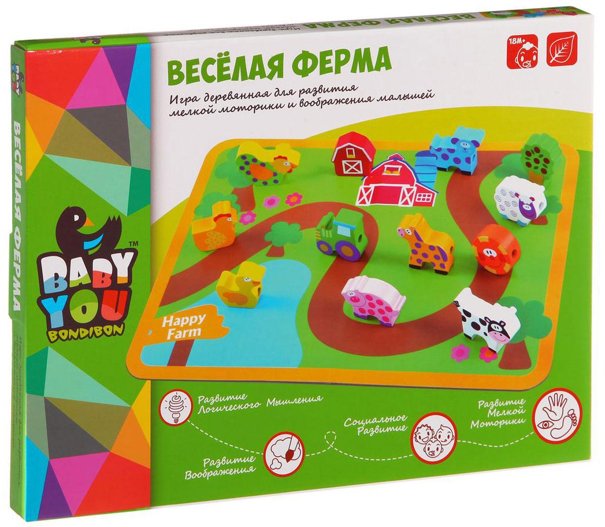 Bondibon Обучающая игра Веселая фермаВВ1109-1Обучающая игра Bondibon Веселая ферма поможет ребенку развить внимательность, логическое мышление, воображение и фантазию. Соединяя деревянные фигурки животных с помощью шнурка, и находя связь между ними, ребенок будет развивать мелкую моторику рук. Фигурки выполнены из дерева, потому могут активно и долго использоваться в играх. Мудрые родители выбирают для своих малышей игрушки, которые обучают малыша в процессе увлекательной игры, формируют его внутренний мир и не вредят здоровью.