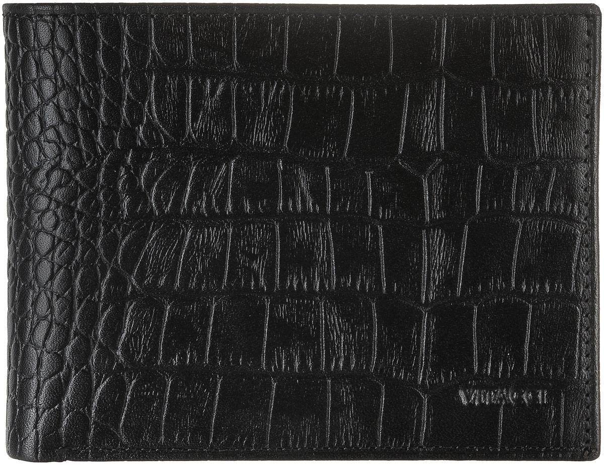 Кошелек мужской Vitacci, цвет: черный. GU034GU034Кошелек Vitacci выполнен из натуральной кожи с тиснением под рептилию и оформлен тисненой надписью с названием бренда. Внутри расположено два открытых отделения для купюр, два вертикальных открытых кармана для визиток и карт, один вшитый карман на молнии для купюр и отделение для мелочи, которое закрывается клапаном на кнопку. Также внутри расположено отделение, закрывающееся хлястиком на кнопку. Оно содержит три вертикальных кармана с вставками из пластиковой сетки и шесть прорезных карманов для карт. Изделие упаковано в фирменную коробку.