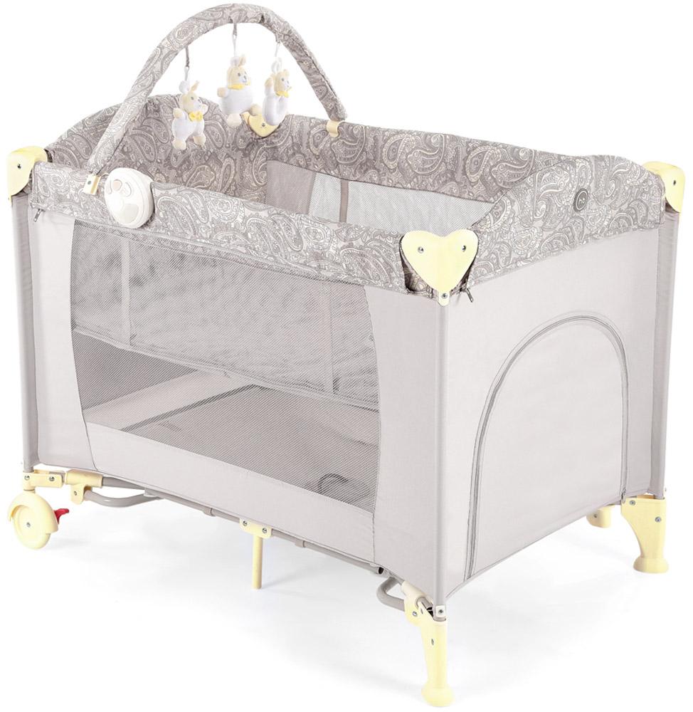 Happy Baby Кровать-манеж Lagoon V2 цвет бежевый4690624017643Кровать-манеж Happy Baby Lagoon V2 - это модель манежа 3 в 1: манеж-кроватка со вторым дном; шезлонг-качалка; манеж для игр. Новорожденным. На манеж быстро устанавливается второе дно при помощи застежки-молнии, благодаря чему, он превращается в кроватку, в которой малыша можно будет легко и с комфортом укачивать. Укачивание обеспечивают две съемные дуги по обеим сторонам манежа, поверхность которых защищена силиконовыми накладками для мягкого и тихого укачивания. Внимание малыша привлечет дуга с игрушками, которые можно легко снять и постирать, или заменить другими развивающими игрушками. Также в комплект входит шезлонг-качалка для новорожденного. Шезлонг при необходимости легко устанавливается на бортики манежа, и в данном положении его можно использовать как пеленальный столик. Шезлонг оснащен крышей для защиты малыша от солнечных лучей, трехточечными ремнями безопасности для надежной фиксации, а также съемным матрасиком с мягкими бортиками. В случае если малыша нужно...