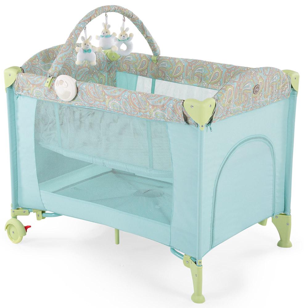 Happy Baby Кровать-манеж Lagoon V2 цвет синий4690624017650Кровать-манеж Happy Baby Lagoon V2 - это модель манежа 3 в 1: манеж-кроватка со вторым дном; шезлонг-качалка; манеж для игр. Новорожденным. На манеж быстро устанавливается второе дно при помощи застежки-молнии, благодаря чему, он превращается в кроватку, в которой малыша можно будет легко и с комфортом укачивать. Укачивание обеспечивают две съемные дуги по обеим сторонам манежа, поверхность которых защищена силиконовыми накладками для мягкого и тихого укачивания. Внимание малыша привлечет дуга с игрушками, которые можно легко снять и постирать, или заменить другими развивающими игрушками. Также в комплект входит шезлонг-качалка для новорожденного. Шезлонг при необходимости легко устанавливается на бортики манежа, и в данном положении его можно использовать как пеленальный столик. Шезлонг оснащен крышей для защиты малыша от солнечных лучей, трехточечными ремнями безопасности для надежной фиксации, а также съемным матрасиком с мягкими бортиками. В случае если малыша нужно...