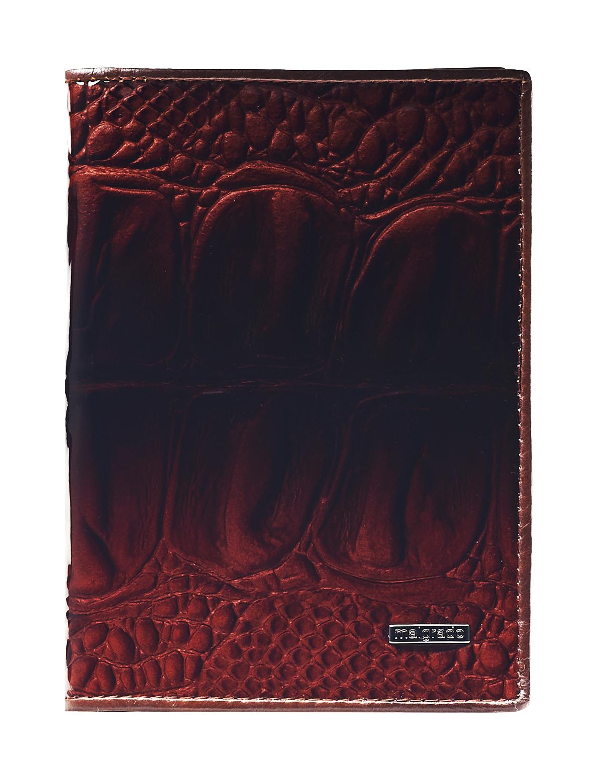 Обложка для паспорта женская Malgrado, цвет: коричневый. 54019-0440354019-04403 BrownСтильная обложка для паспорта Malgrado выполнена из натуральной лакированной кожи с тиснением под рептилию и оформлена металлической фурнитурой с символикой бренда. Изделие раскладывается пополам. Внутри расположены два накладных кармана, один из которых дополнен прозрачной вставкой из пластика, и пять накладных кармашков для пластиковых карт или визиток. Изделие дополнено съемным блоком для хранения автодокументов. Блок включает в себя четыре стандартных файла, один файл для хранения водительского удостоверения и один файл формата А3. Обложка для паспорта поставляется в фирменной упаковке. Обложка для паспорта поможет сохранить внешний вид ваших документов и защитит их от повреждений, а также станет стильным аксессуаром, который подчеркнет ваш образ.