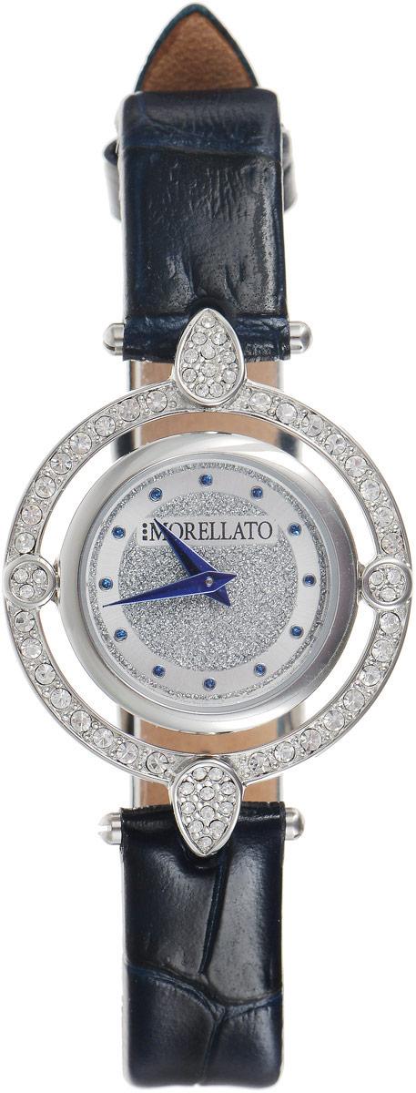 Наручные часы женские Morellato, цвет: серебристый, темно-синий. R0151121507R0151121507Наручные женские часы Morellato произведены опытными специалистами из материалов самого высокого качества на базе новейших технологий. Они оснащены точным кварцевым механизмом. Корпус круглой формы, выполненный из нержавеющей стали, инкрустирован стразами и защищен минеральным стеклом. Циферблат оформлен отметками и двумя стрелками - часовой и минутной. Оригинальный браслет из натуральной кожи, застегивается на застежку - пряжку. Часы Morellato придадут вашему образу нотку изысканности и элегантности.