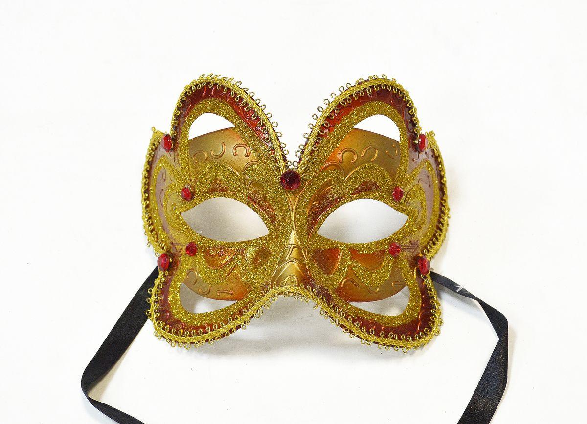 Маска венецианская Бабочка, цвет: золотойWD1205_G