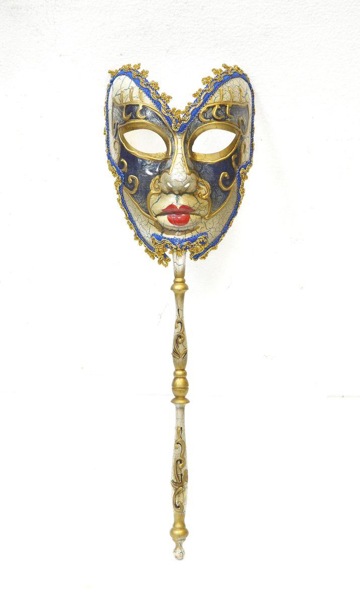 Маска венецианская на палочке , цвет: СинийWD1208_Bl