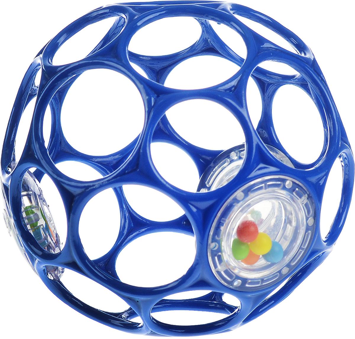 Oball Мячик Гремящий цвет синий81031_синийЯркий мячик Oball Гремящий издает забавные звуки, стоит малышу его потрясти. Легкий мячик имеет много крупных дырочек, что позволяет малышу удобно держать игрушку. По периметру мячика находятся 3 прозрачных контейнера с разноцветными бусинками, которые при тряске издают негромкий звук. Мячик выполнен из гибкого пластика, приятный на ощупь, не имеет острых краев, полностью безопасен для крохи. Игрушка развивает мелкую моторику, зрение и слух малыша.