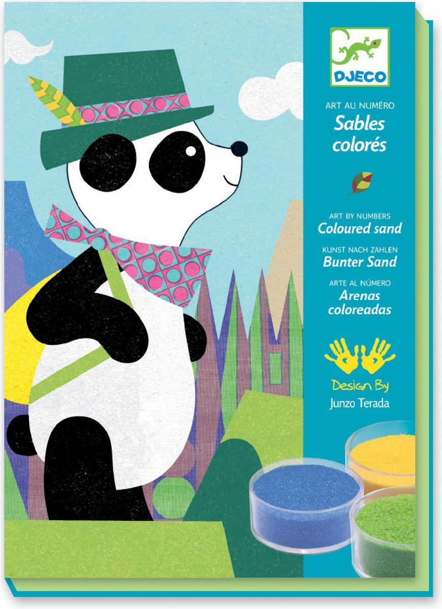 Djeco Набор для создания картины из цветного песка Панда и ее друзья