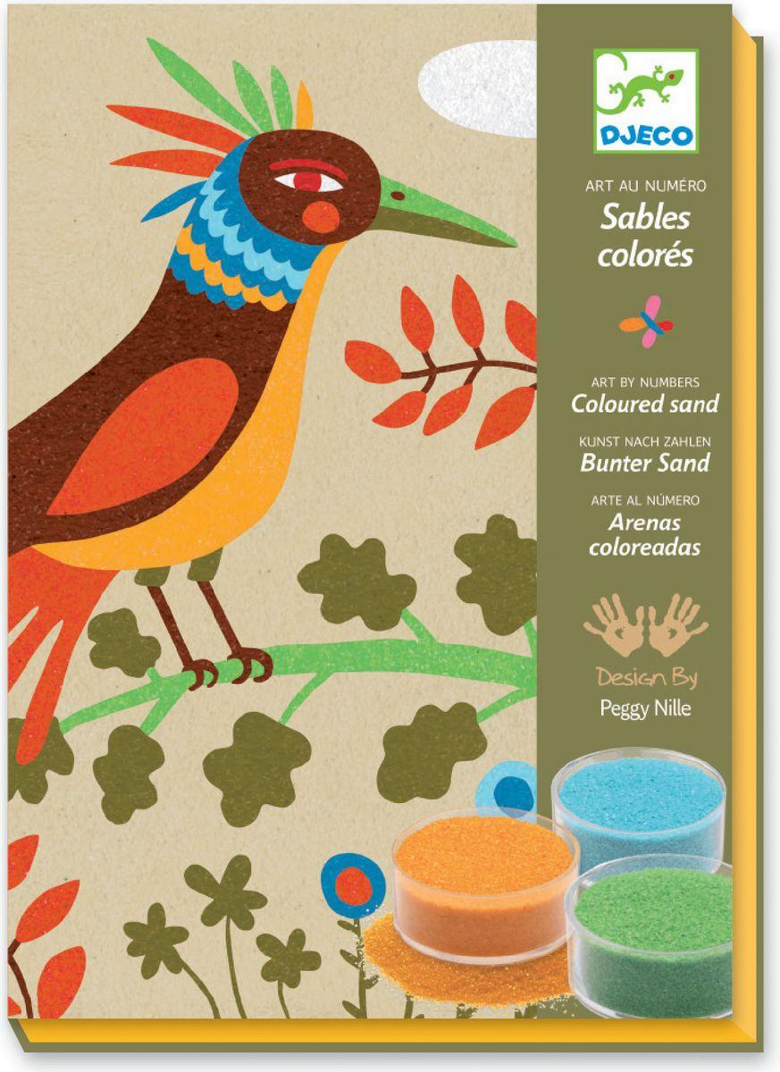 Djeco Набор для создания картины из цветного песка Райские птицы