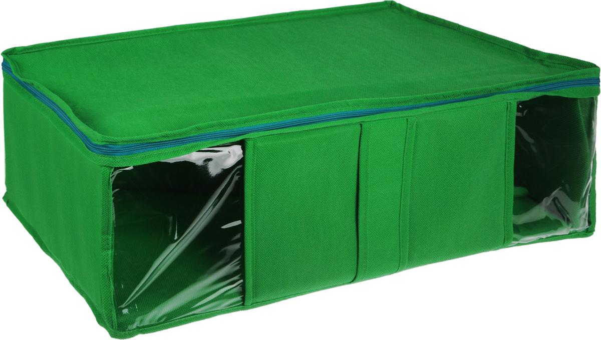 Кофр для хранения Miolla, цвет: зеленый, 60 х 30 х 20 смCHL-10-2Кофр Miolla выполнен из высококачественного спанбонда (нетканого материала). Прозрачные полиэтиленовые окошки позволяют видеть содержимое внутри. Подходит для длительного хранения вещей и закрывается откидной крышкой на застежке-молнии. Дно и стенки кофра оснащены специальными вставками из картона, которые держат его форму. Также кофр оснащен удобной ручкой, благодаря которой изделие можно использовать в качестве выдвижного ящика в гардеробе или шкафу. Такой кофр обеспечит вашей одежде надежную защиту от влажности, повреждений и грязи при транспортировке, от запыления при хранении и проникновения моли, а также позволит воздуху свободно поступать внутрь вещей, обеспечивая их кондиционирование.
