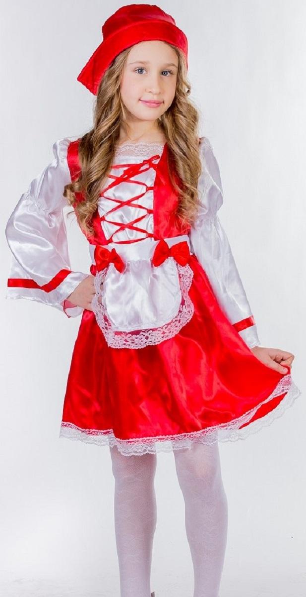 Карнавалия Карнавальный костюм для девочки Красная шапочка размер 11085219Яркий детский карнавальный костюм Красная шапочка позволит вашей малышке быть самой красивой девочкой на детском утреннике, бале-маскараде или карнавале. Костюм состоит из платья, фартука и шапочки. Яркое красно-белое платье дополнено шнуровкой на лифе. Подол и верх платья декорированы белым кружевом. Белый атласный фартучек дополнен двумя красными бантиками и нежным кружевом. Плотная шапочка красного цвета непременно будет к лицу вашей малышке. Такой карнавальный костюм привлечет внимание друзей вашего ребенка и подчеркнет её индивидуальность. Веселое настроение и масса положительных эмоций будут обеспечены! Ткань: 100% полиэстер. Костюм рассчитан на рост ребенка 110 см.