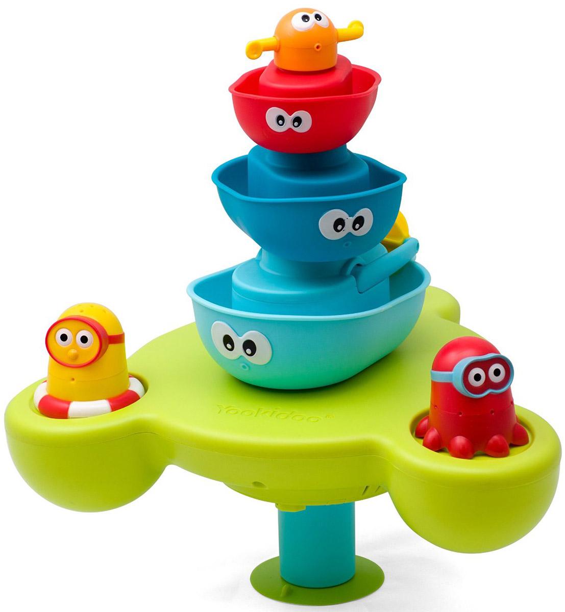 Yookidoo Игрушка для ванной Веселый фонтан40115Развивающая водная игрушка представляет собой фонтан-пирамидку с 5 разноцветными взаимозаменяемыми фигурками. Каждая фигурка - это разные водные эффекты. Красная лодка кружится при подаче воды, у голубой лодки вертится пропеллер, осьминог брызгается водой во всех направлениях... всего и не перечислить! Работает от 3 батареек АА (не входят в комплект).