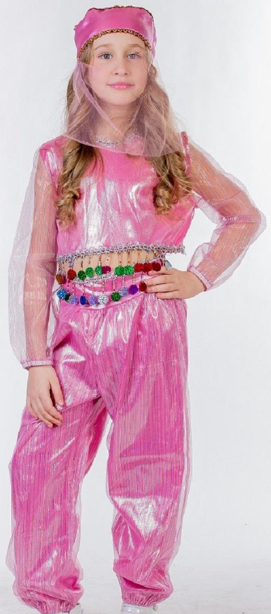 Карнавалия Карнавальный костюм для девочки Шахерезада цвет розовый размер 13485037Яркий детский карнавальный костюм Шахерезада тонко и изысканно выделит вашу девочку среди Снежинок на детском утреннике, бале-маскараде или карнавале. Добрый и положительный персонаж, из любимой сказки, может вызывать только положительные эмоции. Карнавальный костюм состоит из блузы, шаровар и головного убора с вуалью. Красивые шаровары выполнены из ткани с люрексом и на поясе декорированы блестящей тесьмой с бахромой. Блуза с длинными прозрачными рукавами дополнена тесьмой как на шароварах. Дополнит сказочный образ шикарный головной убор с вуалью. Если ваша дочурка любит волшебство и мечтает хоть на минутку превратиться в очаровательную Шахерезаду, этот шикарный карнавальный костюм поможет вам сделать ребенку поистине сказочный подарок! Веселое настроение и масса положительных эмоций будут обеспечены! Ткань: 100% полиэстер. Костюм рассчитан на рост ребенка 134 см.