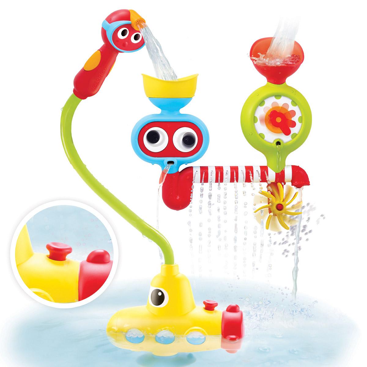 Yookidoo Игрушка для ванной Подводная лодка и поливочная станция40139Игрушка для ванной Yookidoo Подводная лодка и поливочная станция прекрасно подходит для того, чтобы превратить процесс мытья ребенка в забавную игру. В игрушку встроен насос, работающий от батареек. Подводная лодка - насос набирает воду и через шланг ее можно наливать в любую из двух форм-воронок, которые закрепляются на стенке ванны. Распылитель воды на конце шланга выполнен так, чтобы легко помещаться в детской руке. Игрушка способствует самостоятельной игре, стимулирует процесс познания, тренирует причинно-следственного мышление, кроме того, она помогает развитию мелкой моторики, координации движений, а также освоению навыков памяти, зрительного и тактильного восприятия. Необходимо купить 4 батарейки напряжением 1,5V типа АА (не входят в комплект).