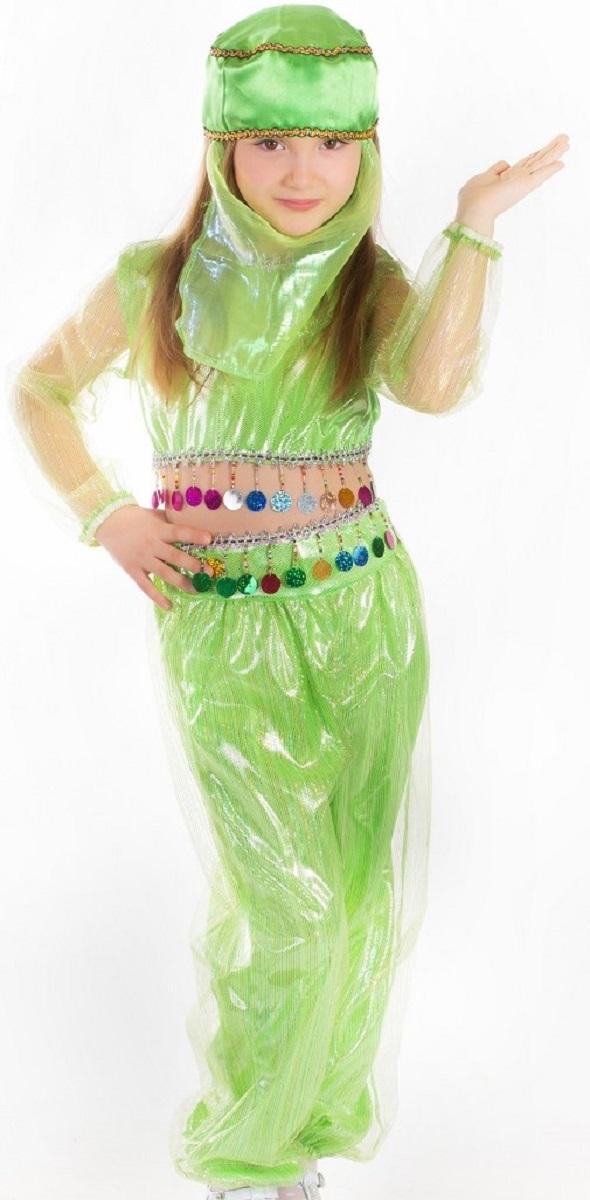 Карнавалия Карнавальный костюм для девочки Шахерезада цвет салатовый размер 13485037СЯркий детский карнавальный костюм Шахерезада тонко и изысканно выделит вашу девочку на детском утреннике, бале-маскараде или карнавале. Добрый и положительный персонаж, из любимой сказки, может вызывать только положительные эмоции. Карнавальный костюм состоит из блузы, шаровар и головного убора с вуалью. Красивые шаровары выполнены из ткани с люрексом и на поясе декорированы блестящей тесьмой с бахромой. Блуза с длинными прозрачными рукавами дополнена тесьмой как на шароварах. Дополнит сказочный образ шикарный головной убор с вуалью. Если ваша дочурка любит волшебство и мечтает хоть на минутку превратиться в очаровательную Шахерезаду, этот шикарный карнавальный костюм поможет вам сделать ребенку поистине сказочный подарок! Веселое настроение и масса положительных эмоций будут обеспечены! Ткань: 100% полиэстер. Костюм рассчитан на рост ребенка 134 см.