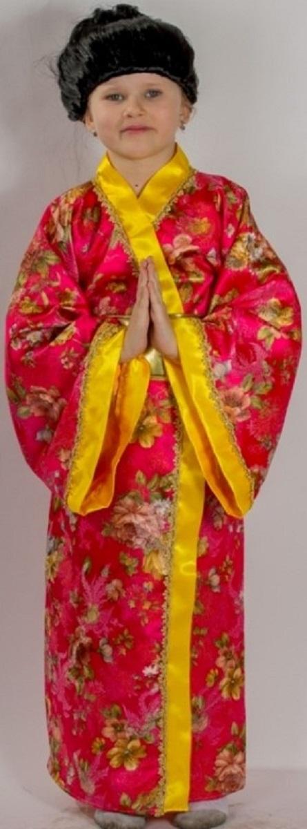 Карнавалия Карнавальный костюм для девочки Японка размер 12285158Яркий детский карнавальный костюм Японка позволит вашей малышке быть самой красивой девочкой на детском утреннике, бале-маскараде или карнавале. Костюм состоит из японского кимоно, пояса и парика. Шикарное длинное кимоно розового цвета с желтой отделкой декорировано яркими красивыми рисунками с цветами. Пояс золотого цвета на липучке декорирован большим мягким бантом. В комплекте парик с черными волосами, убранными в хвостик. Такой карнавальный костюм привлечет внимание друзей вашей малышки и подчеркнет её индивидуальность. Веселое настроение и масса положительных эмоций будут обеспечены! Ткань: 100% полиэстер. Костюм рассчитан на рост ребенка 122 см.