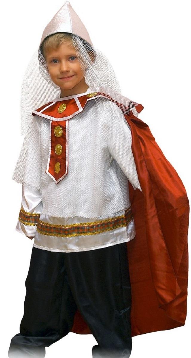 Карнавалия Карнавальный костюм для мальчика Богатырь размер 12285102Яркий детский карнавальный костюм Карнавалия Богатырь позволит вашему ребенку быть самым интересным героем на детском утреннике, бале-маскараде или карнавале. В комплект входят рубашка, брюки, шлем, плащ. Штаны на резинке. Рост ребенка: 122 см. Материал: 100% полиэстер. В этом костюме мальчик почувствует себя настоящим сказочным героем. Костюм привлечет внимание друзей вашего ребенка и подчеркнет его индивидуальность. Веселое настроение и масса положительных эмоций будут обеспечены!