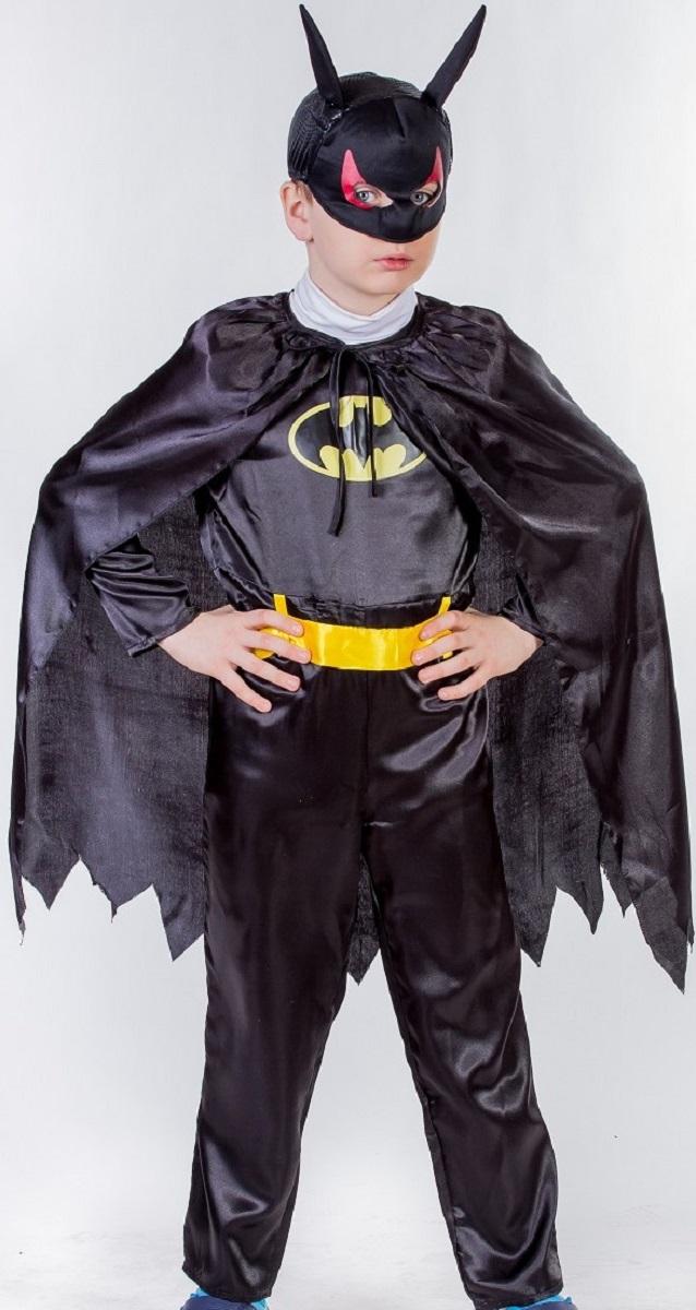 Карнавалия Карнавальный костюм для мальчика Бэтмен размер 13485004Детский карнавальный костюм Карнавалия Бэтмен позволит вашему ребенку быть самым интересным героем на детском утреннике, бале-маскараде или карнавале. В комплект входят комбинезон, маска, плащ, пояс. Рост ребенка: 134 см. Материал: 100% полиэстер. В этом костюме мальчик почувствует себя настоящим супергероем. Костюм привлечет внимание друзей вашего ребенка и подчеркнет его индивидуальность. Веселое настроение и масса положительных эмоций будут обеспечены!