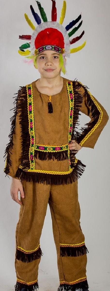 Карнавалия Карнавальный костюм для мальчика Индеец размер 11085212Яркий детский карнавальный костюм Карнавалия Индеец позволит вашему ребенку быть самым интересным героем на детском утреннике, бале-маскараде или карнавале. В комплект входят рубашка, штаны, лента с перьями. Рост ребенка: 110 см. Материал: 100% полиэстер. В этом костюме мальчик почувствует себя настоящим индейцем. Костюм привлечет внимание друзей вашего ребенка и подчеркнет его индивидуальность. Веселое настроение и масса положительных эмоций будут обеспечены!