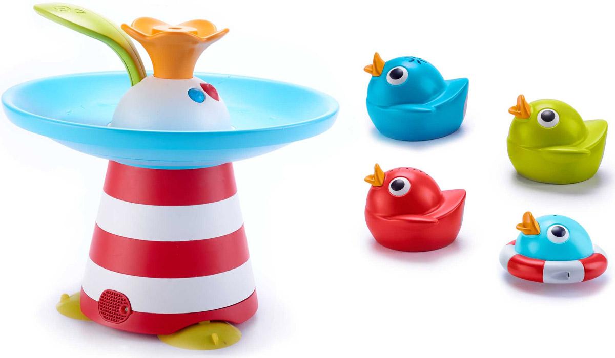 Yookidoo Игрушка для ванной Утиная гонка40138Музыкальная игрушка для ванной Yookidoo Утиная гонка - водная развивающая игрушка, представляющая собой фонтан с четырьмя фигурками уточек, которые кружатся по специальному желобку, наполняемому водой. Игрушка имеет девять различных музыкальных и водных эффектов, которые переключаются специальным рычажком-листочком. Фонтан снабжен функцией отключения звука. Игрушка развивает координацию движений, причинно-следственное мышление, дает представление о таких физических свойствах как пустота-наполненность, плавучесть и ее отсутствие. Необходимо купить 4 батарейки напряжением 1,5V типа АА (не входят в комплект).