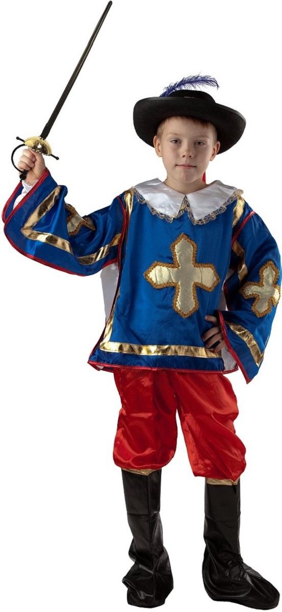 Карнавалия Карнавальный костюм для мальчика Мушкетер цвет синий красный размер 11085221Карнавальный костюм Карнавалия Мушкетер подойдет для участия в сказке. В нем мальчишка почувствует себя отважным мушкетером, что поможет вжиться в образ, прекрасно сыграть свою роль на утреннике или просто повеселиться на празднике. Хорошее настроение и масса положительных эмоций с таким костюмом обеспечены. Благодаря высококачественным материалам, которые использовались при пошиве костюма, за ним легко ухаживать и он сохранит первозданный вид на долгие годы. В комплект входят рубашка-накидка, брюки с сапогами и шляпа. Рост ребенка - 110 см. Материал: 100% полиэстер.