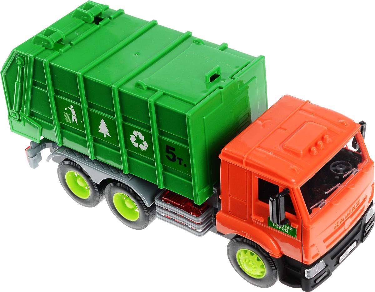 Технопарк Мусоровоз инерционный КамАЗWY307KИнерционный мусоровоз Технопарк КамАЗ, выполненный из безопасного материала, станет любимой игрушкой вашего малыша. Изделие представляет собой мусоровоз, оснащенный поднимающимся кузовом и задней крышкой. Машина имеет звуковые и световые эффекты, а также инерционный механизм. Прорезиненные колеса обеспечивают надежное сцепление с любой поверхностью пола. Двери машины открываются. Ваш ребенок будет часами играть с этим мусоровозом, придумывая различные истории. Подарите вашему малышу возможность почувствовать себя настоящим водителем. Рекомендуется докупить 3 батарейки напряжением 1,5V типа LR44 (товар комплектуется демонстрационными).
