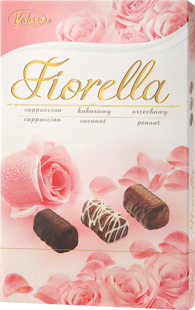 Vobro Fiorella набор шоколадных конфет, 140 г9352_розовые розыVobro Fiorella - набор шоколадных конфет с тремя вкусами. Под деликатным шоколадом скрыт вкус кокоса, ореха и капучино. Конфеты доступны в различных графических упаковках.
