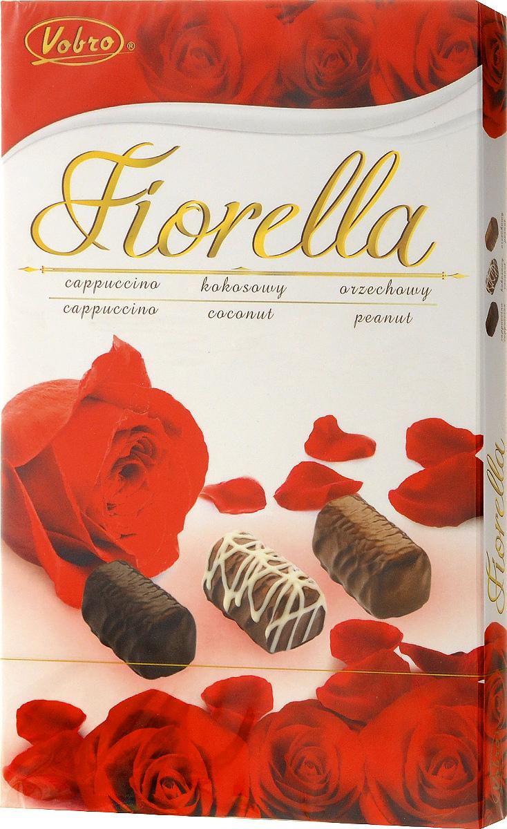 Vobro Fiorella набор шоколадных конфет, 140 г9352_красные розыVobro Fiorella - набор шоколадных конфет с тремя вкусами. Под деликатным шоколадом скрыт вкус кокоса, ореха и капучино. Конфеты доступны в различных графических упаковках.