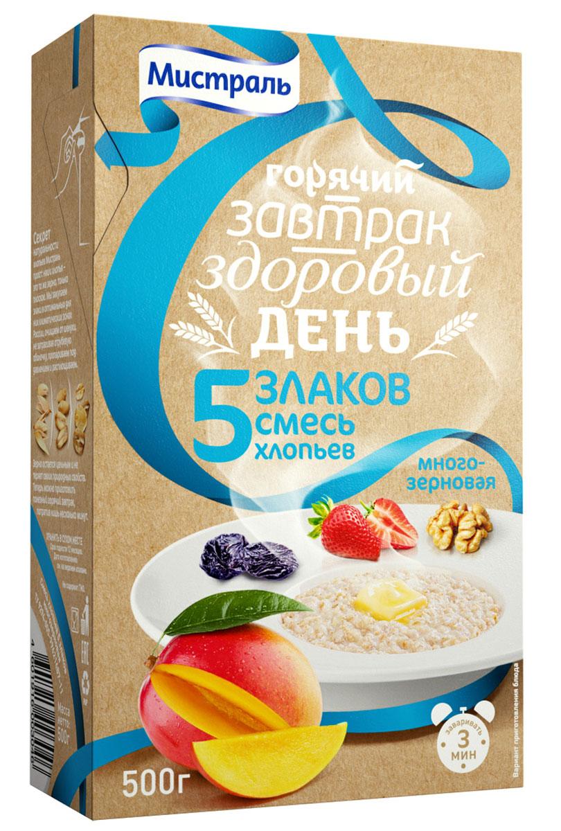 Смесь хлопьев 5 злаков многозерновая.1. Залейте хлопья в соотношении 1:2: горячей водой (легкий завтрак), горячим молоком (домашний завтрак), горячим молоком повышенной жирности или сливками (сытный завтрак), горячим топленым молоком (деревенский завтрак), горячим кокосовым молоком (экзотичный завтрак) 2. Перемешайте, накройте крышкой и дайте настояться 3 минуты 3. Превратите свой завтрак в горячий десерт, добавив один из ингредиентов, подобранных специально для этой каши нашим шеф-поваром:Тростниковый нерафинированный сахар Чернослив Клубничное варенье Грецкие орехи Сушеное манго Халва Нектарин