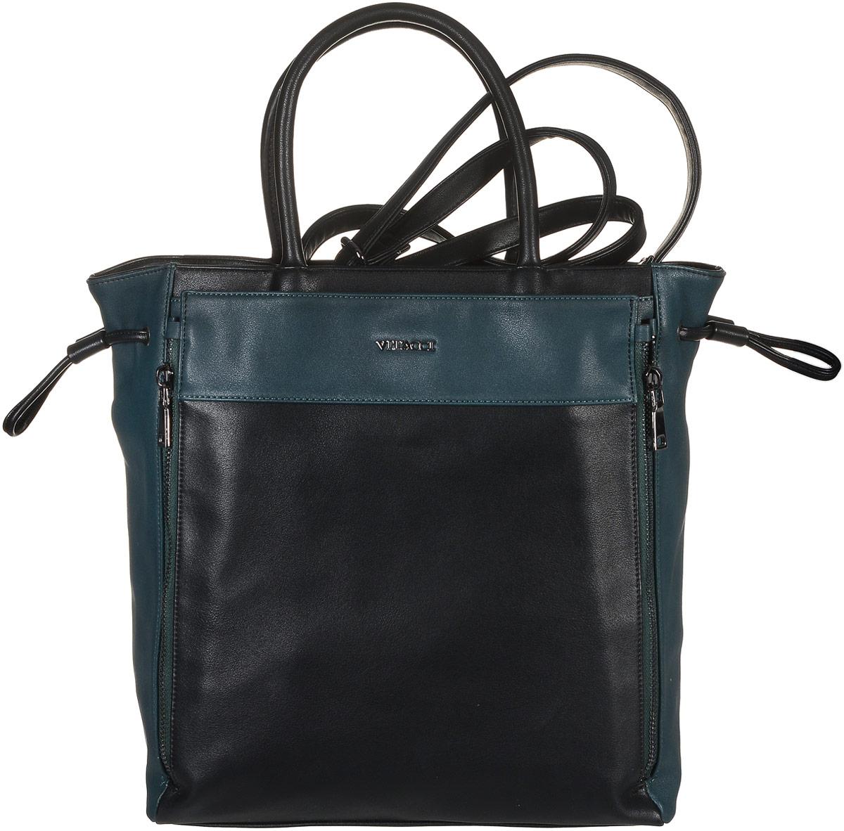 Сумка женская Vitacci, цвет: черный, темно-зеленый. BL0114BL0114Стильная женская сумка Vitacci выполнена из искусственной кожи. Сумка имеет одно основное отделение, закрывающееся на застежку-молнию. Внутри находится прорезной карман на застежке-молнии и два накладных, открытых кармана. Спереди модель дополнена декоративными молниями и металлической пластиной с названием бренда. Модель дополнена затягивающимся шнурком с фиксатором. Сумка оснащена двумя удобными ручками. Модель предназначена для ношения на руке, но так же имеется дополнительный съемный наплечный ремень. Роскошная сумка внесет элегантные нотки в ваш образ и подчеркнет ваше отменное чувство стиля.