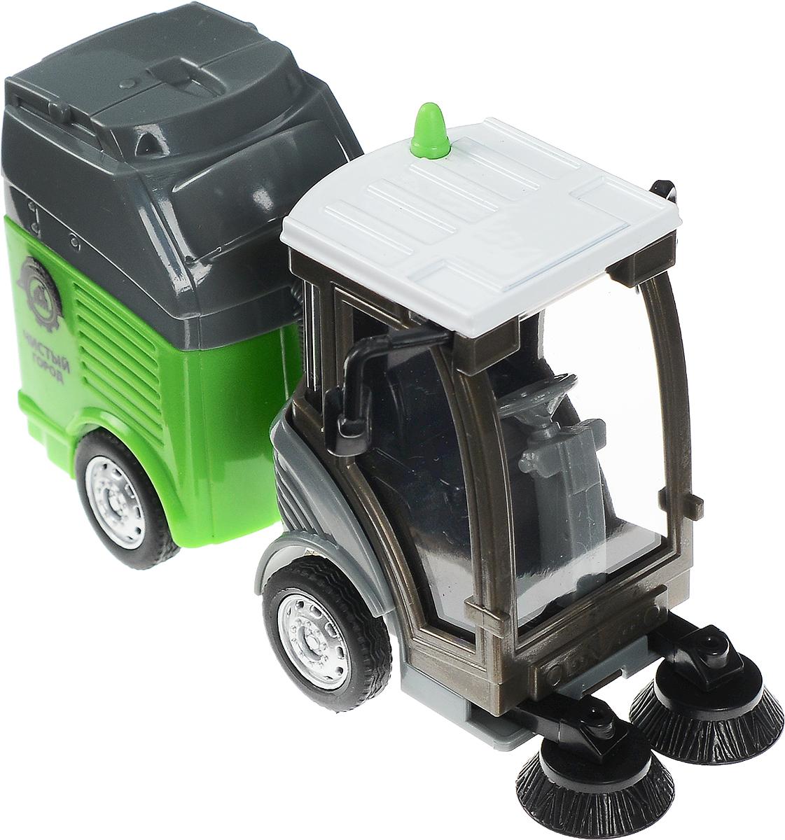 Технопарк Вакуумно-уборочная машинаU1401C-1Вакуумно-уборочная машина Технопарк научит ребенка чистоте уже с самого раннего детства. Игрушка познакомит ребенка с видом спецтехники, который будет содержать игрушечный городок ребенка в чистоте. Машинка отлично детализирована, что делает игру с ней еще интереснее. Игрушка имеет приятную серо-зеленую расцветку и интересный дизайн. Благодаря прозрачным стеклам можно рассмотреть тщательно исполненную кабину водителя. Модель снабжена подвижными элементами. Колеса оснащены свободным ходом. В набор с машиной входит мусорный контейнер, крышку которого можно открывать и закрывать. Благодаря данной машине маленькие фантазеры придумают множество увлекательных сюжетов для игры, развивающих воображение и тренирующих координацию движений и моторику рук.