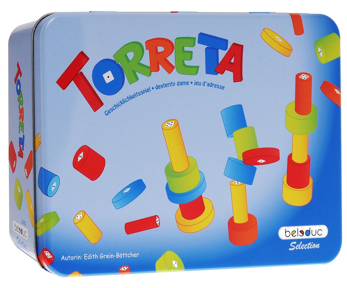 Beleduc Обучающая игра Башенки 2245022450Бросая игральные кубики, игроки должны построить башенки из разноцветных бревнышек разной длины и толщины. Выиграет тот игрок, чья башня окажется самой высокой. Обучающая игра Beleduc Башенки учит распознавать цвета, дает представление о размерах и пропорциях, а также развивает моторику. В игре используются игральные кубики с гранями разных цветов или с точками. В зависимости от выпавшего на кубиках цвета или количества точек, игроки строят свои башни, а победителем становится тот, кто умело возведет самую высокую башню. Подготовка к игре: 25 бревнышек произвольно раскладываются посередине и игроки решают, каким кубиком играть. Если кубиком с точками, то победителем станет тот, кто просто удачливей будет его бросать. Если играть кубиком с цветами, победа останется за игроком, который окажется более умелым и расчетливым. Перед началом игры игроки должны установить правила, в частности, определить штраф игроку, который будет неаккуратен и разрушит свою башню. Можно...