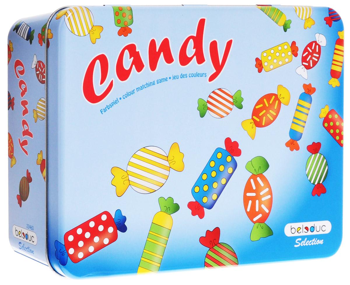 Beleduc Обучающая игра Конфеты 2246022460Вместе с обучающей игрой Beleduc Конфеты вашему любознательному непоседе непременно понравится процесс изучения цветовой палитры с разноцветными конфетками. В процессе игры ребенок изучает цвета, развивает наблюдательность. Для игры используются 3 кубика с цветными символами. В зависимости от выпавшей цветовой комбинации игроки выбирают конфеты с соответствующей расцветкой. Существует 3 варианта ведения игры. В первом варианте перед началом игры нужно договориться, сколько требуется собрать конфет, чтобы победить. Например, первый, кто соберёт 5 конфет, - выиграл. У всех конфет - разные цветовые комбинации, от 1 до 3 цветов. Самый младший игрок начинает игру и бросает все три кубика одновременно. Задача - найти конфету, которая окрашена в такие же цвета, как комбинация трёх кубиков. Второй вариант похож на предыдущий, только конфеты нельзя забирать. Тот, кто нашёл нужную конфету, просто указывает на неё, а старший из игроков ведёт таблицу с количеством конфет,...