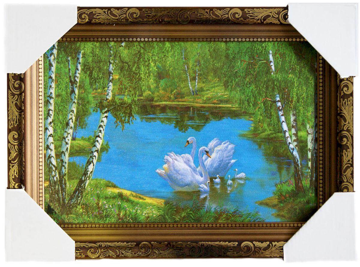 Картина в раме Proffi Home Лебединая стая, 20 х 30 смВ934Картина Proffi Home поможет украсить интерьер. Картина оформлена в красивую деревянную рамку коричневого цвета с золотым декором. Фотопечать на бумажном постере с тиснением. Металлические петли, винты для подвешивания картины в комплекте. Размер картины: 20 х 30 см.