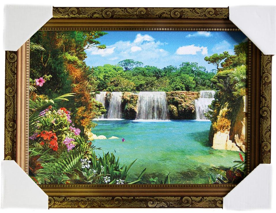Картина в раме Proffi Home Тропический рай, 25 х 35 смВ114Картина Proffi Home поможет украсить интерьер. Картина оформлена в красивую деревянную рамку коричневого цвета с золотым декором. Фотопечать на бумажном постере с тиснением. Металлические петли, винты для подвешивания картины в комплекте. Размер картины: 25 х 35 см.