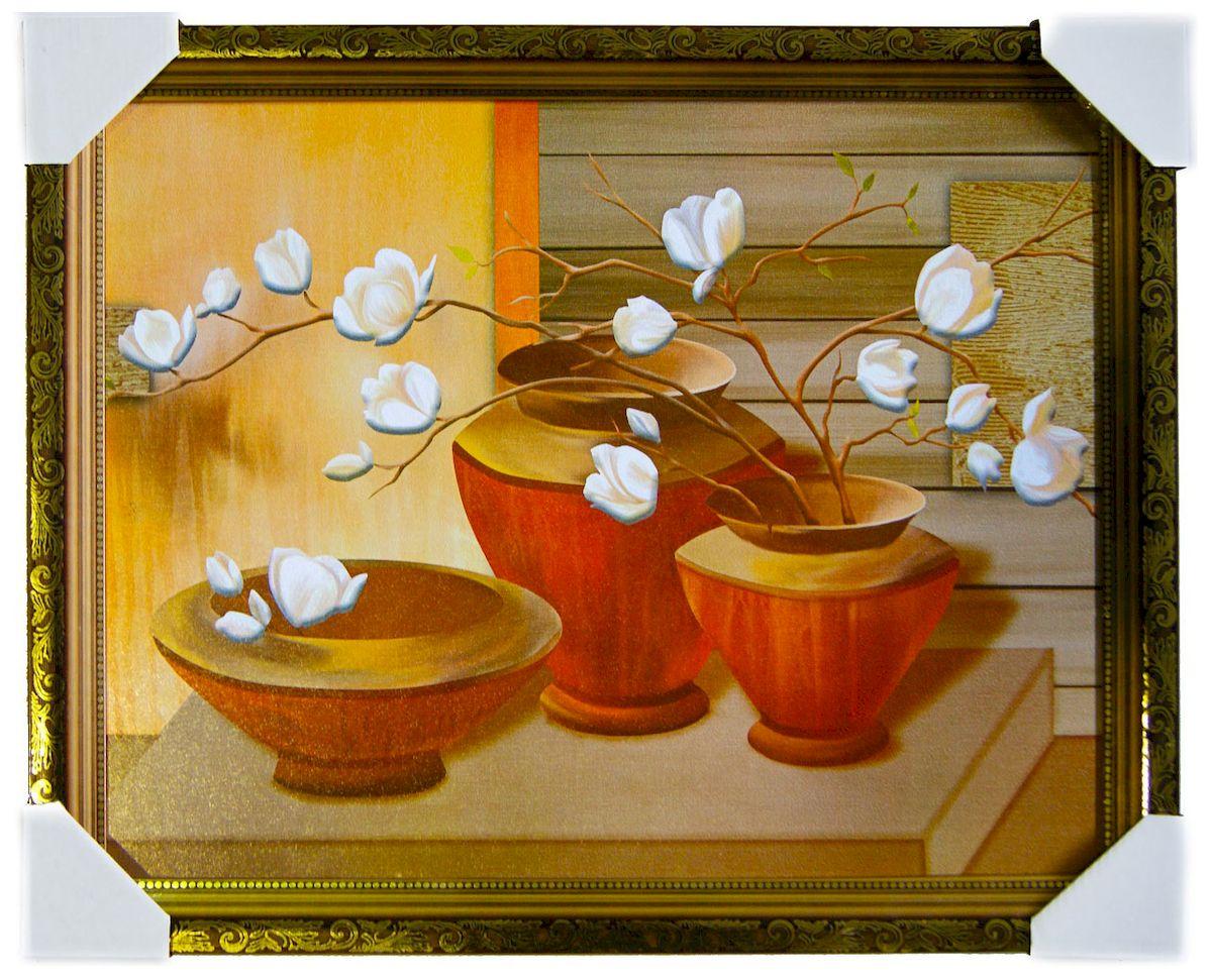 Картина в раме Proffi Home Восточный натюрморт, 40 х 50 смВ742Картина Proffi Home поможет украсить интерьер. Картина оформлена в красивую деревянную рамку белого цвета с золотым декором. Фотопечать на бумажном постере с тиснением. Металлические петли, винты для подвешивания картины в комплекте. Размер картины: 40 х 50 см.
