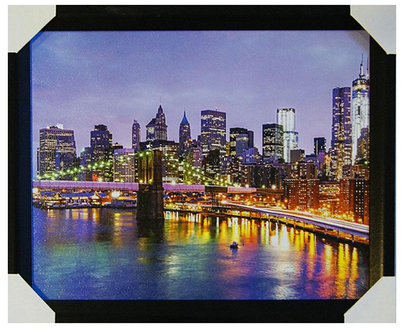 Картина в раме Proffi Home Мост над Гудзоном, 40 х 50 смВ764Картина Proffi Home поможет украсить интерьер. Картина оформлена в красивую деревянную рамку черного цвета. Фотопечать на бумажном постере с тиснением. Металлические петли, винты для подвешивания картины в комплекте. Размер картины: 40 х 50 см.