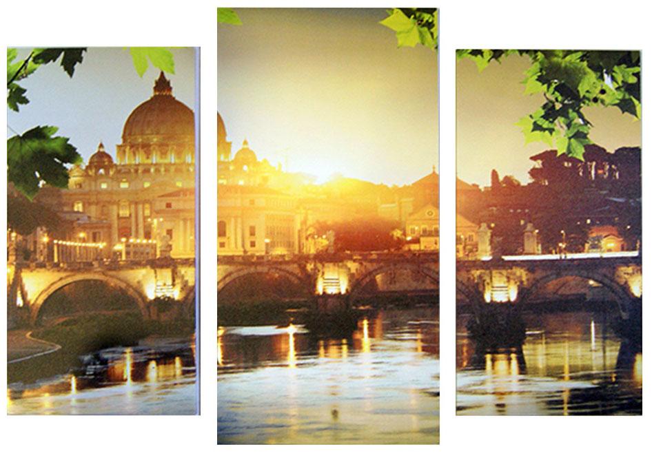 Картина модульная Proffi Home Утро в Венеции. Триптих, 60 х 100 смТР98Композиция из трех частей. Материал: подрамник МДФ, фотопечать на текстурном холсте, УФ-лак. Упаковка: картонная подложка, п/э термоусадка. Вес 2,10кг