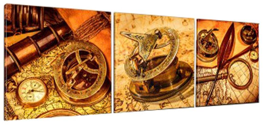 Картина модульная Proffi Home Путешествие во времени. Триптих, 50 х 150 смКВ86Композиция из трех частей размером 50х50см. Материал: подрамник МДФ, фотопечать на текстурном холсте, УФ-лак. Упаковка: картонная подложка, п/э термоусадка. Вес 2,68кг