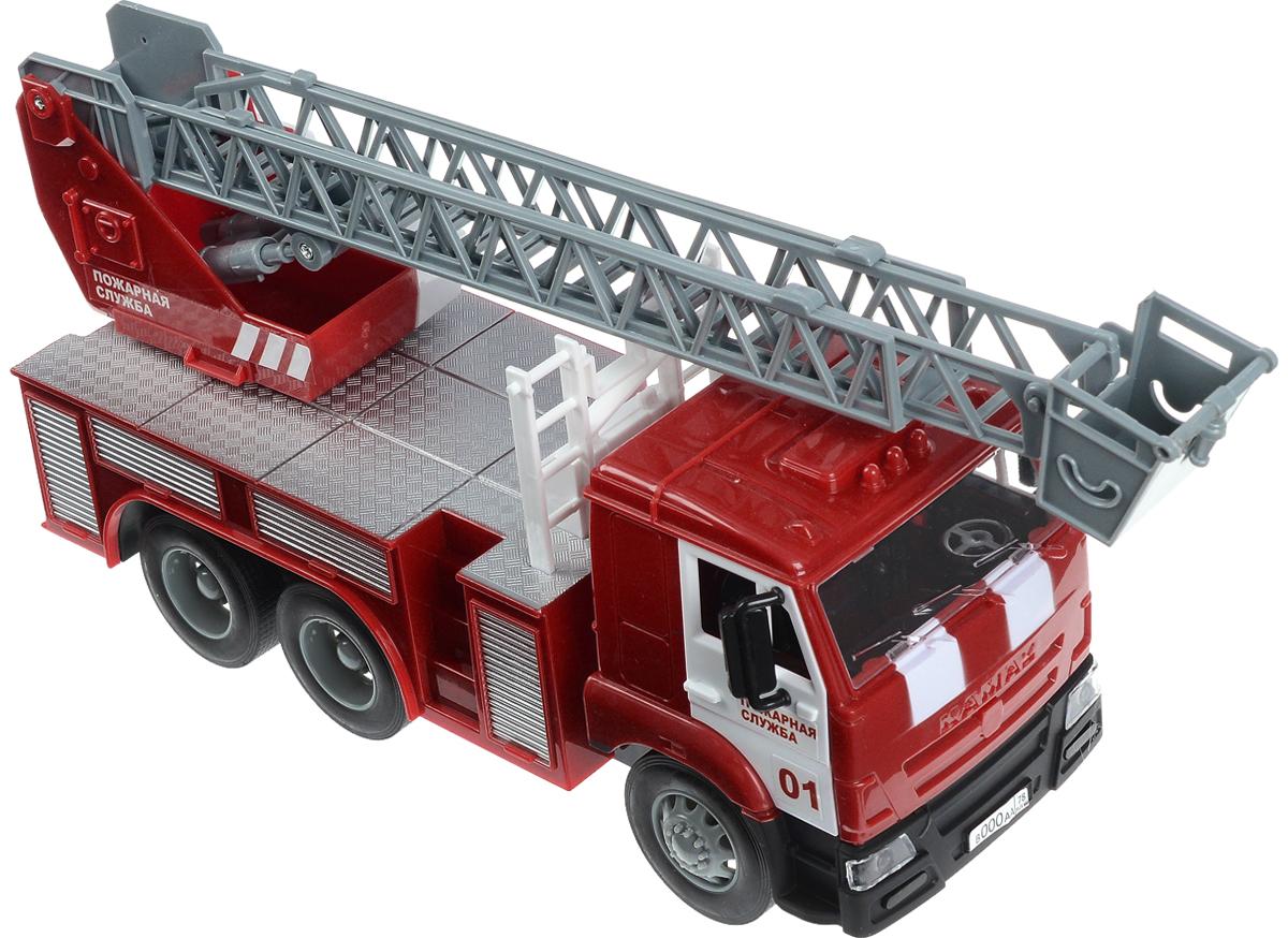 Технопарк Пожарная машина инерционная КамазWY296KПожарная машина ТехноПарк Камаз, выполненная из безопасного пластика, станет любимой игрушкой вашего малыша. У машины поднимается, поворачивается и выдвигается лестница. Имеются световые и звуковые эффекты. Игрушка оснащена инерционным ходом. Машинку необходимо немного подтолкнуть вперед или назад, а затем отпустить - и она быстро поедет в том же направлении. Прорезиненные колеса обеспечивают надежное сцепление с любой поверхностью пола. Ваш ребенок будет часами играть с этой машинкой, придумывая различные истории. Порадуйте его таким замечательным подарком! Для работы игрушки необходимы 3 батарейки типа AG13 напряжением 1,5V (товар комплектуется демонстрационными).