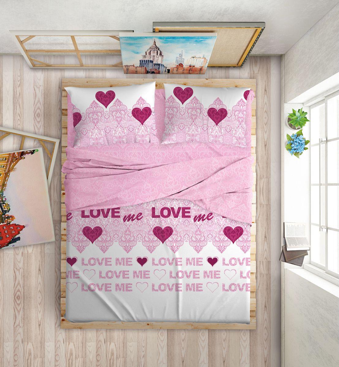 Комплект белья Love Me, 2-спальный, наволочки 50х70, 70х70, цвет: белый, розовый198853Международный бренд для молодых, современных, стильных. Love Me - бренд качественного постельного белья, для молодых людей, создающий ощущение комфорта, защищенности и уюта. При этом - модный, современный, стильный.