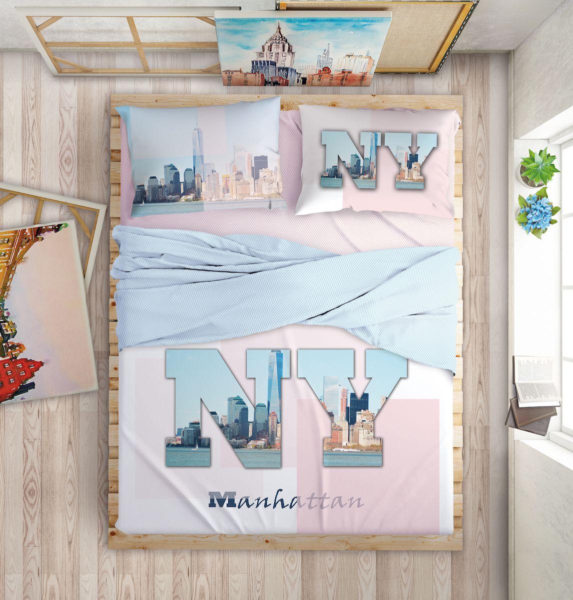 Комплект белья Love Me Manhattan Dreams, евро, наволочки 50х70, 70х70, цвет: голубой198971Международный бренд для молодых, современных, стильных. Love Me - бренд качественного постельного белья, для молодых людей, создающий ощущение комфорта, защищенности и уюта. При этом - модный, современный, стильный. Упаковка выполнена в оригинальном стиле - имитирует модель сумки FURLA.