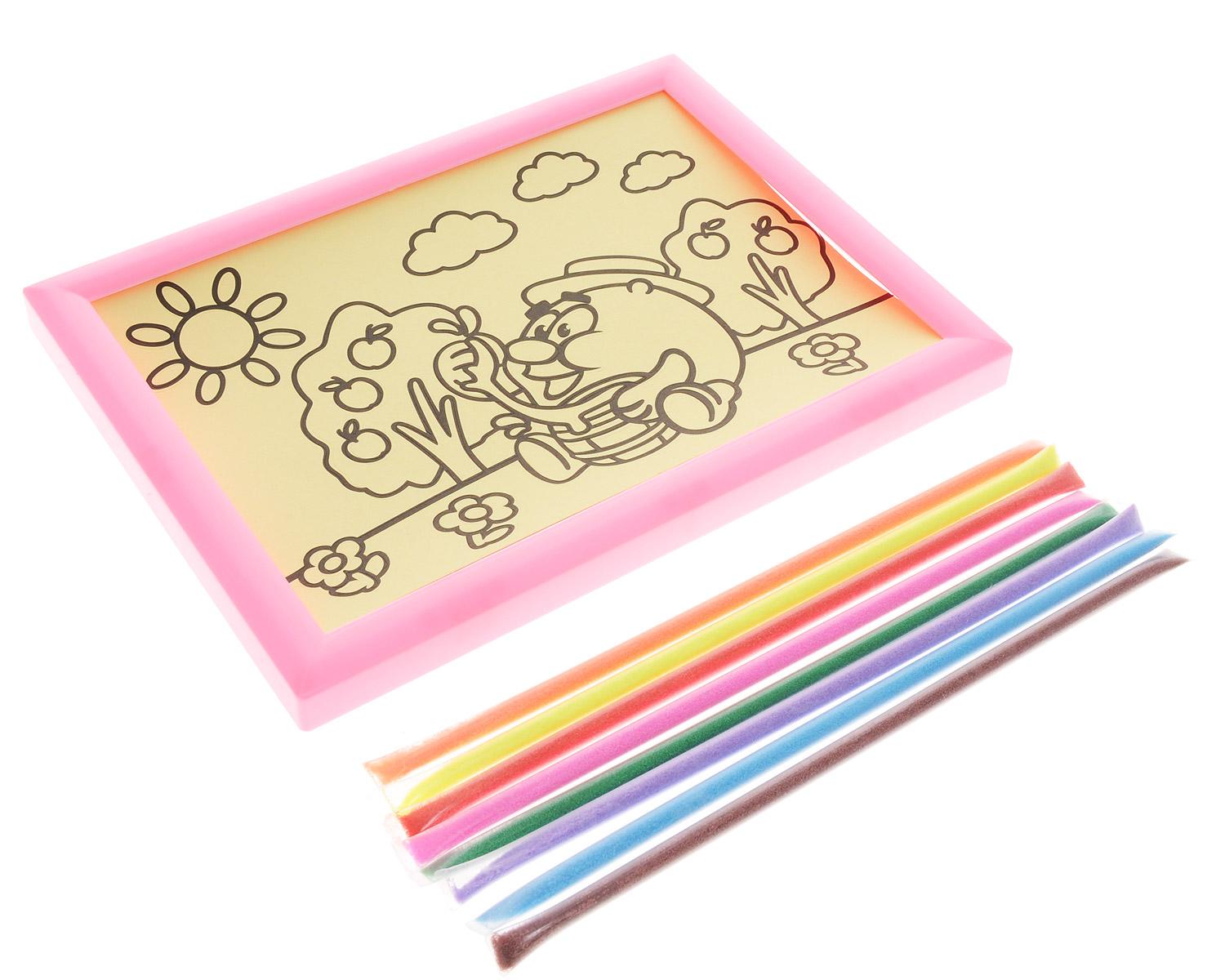 Смешарики Набор для создания картины из цветного песка Копатыч цвет рамки розовый