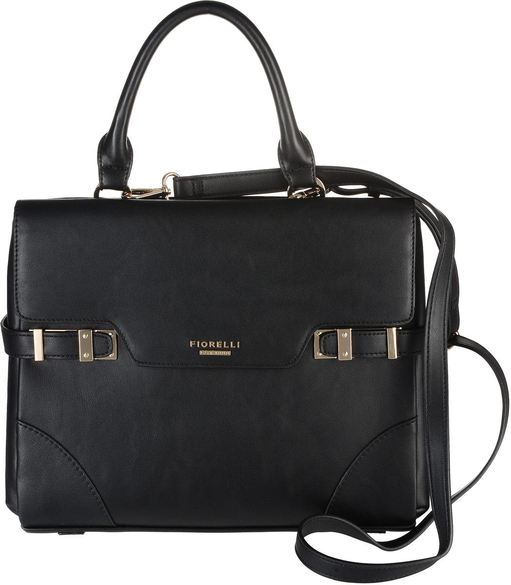 Сумка женская Fiorelli, цвет: черный. 8510 FH8510 FH BlackСтильная женская сумка Fiorelli выполнена из мягкой эко-кожи и с лицевой стороны дополнена металлической фурнитурой с названием бренда. Сумка имеет два отделение, закрывающееся на застежку-молнию клапан на магнитной кнопке. Внутри находится прорезной карман на застежке-молнии и два накладных открытых кармана. Снаружи, на задней стенке размещен прорезной карман на застежке-молнии. Роскошная сумка внесет элегантные нотки в ваш образ и подчеркнет ваше отменное чувство стиля.