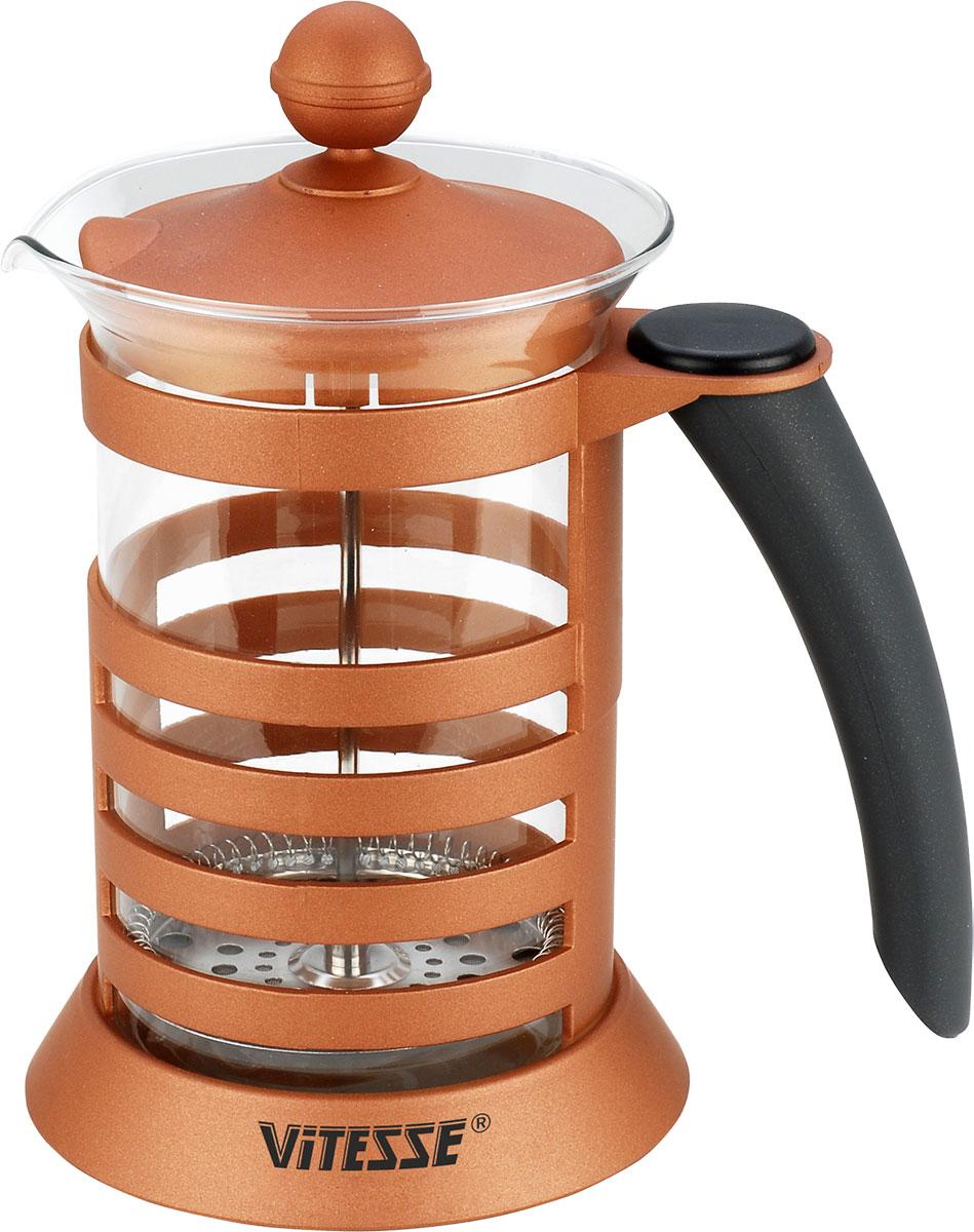Френч-пресс Vitesse, с мерной ложкой, 600 мл. VS-2606VS-2606Френч-пресс Vitesse поможет вам в приготовлении ароматного кофе или чая. Корпус выполнен из высококачественного термостойкого пластика, а колба - из термостойкого стекла. Френч-пресс снабжен фильтром из нержавеющей стали и удобной бакелитовой ручкой. Уникальный дизайн полностью соответствует последним модным тенденциям в создании предметов бытовой техники. В комплект входит мерная ложка.