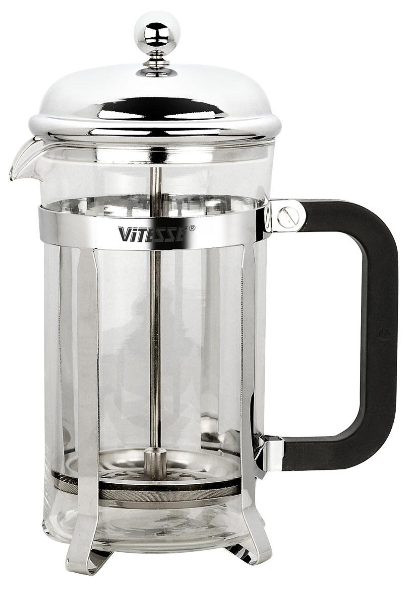 Френч-пресс Vitesse, 600 мл. VS-8334VS-8334Термостойкое стекло и нержавеющая сталь, зеркальная полировка, бакелитовая ручка. Фильтр из нержавеющей стали
